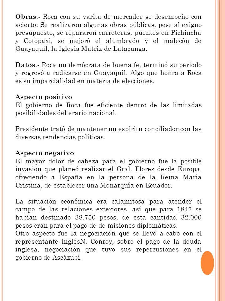 Aspecto Positivo Esta administración se dedicó a reparar los daños sufridos a causa de este terremoto en la provincias de Tungurahua, Cotopaxi y Chimborazo Aspecto Negativo Creció el Producto Interno Bruto y durante el decenio de 1950 el costo de la vida se elevó en un moderado seis por ciento