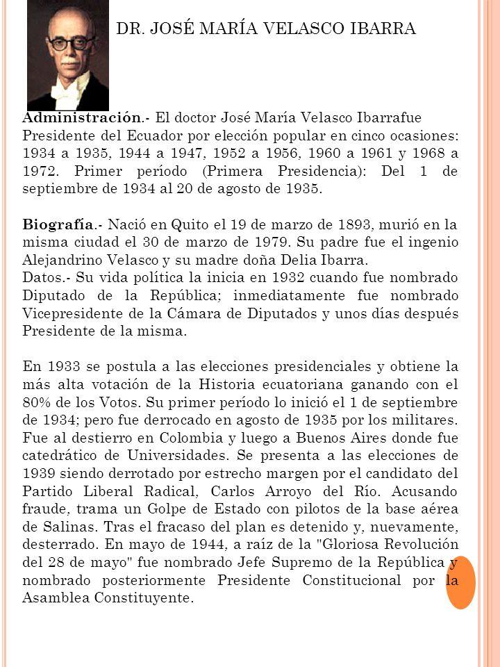 Administración.- El doctor José María Velasco Ibarrafue Presidente del Ecuador por elección popular en cinco ocasiones: 1934 a 1935, 1944 a 1947, 1952