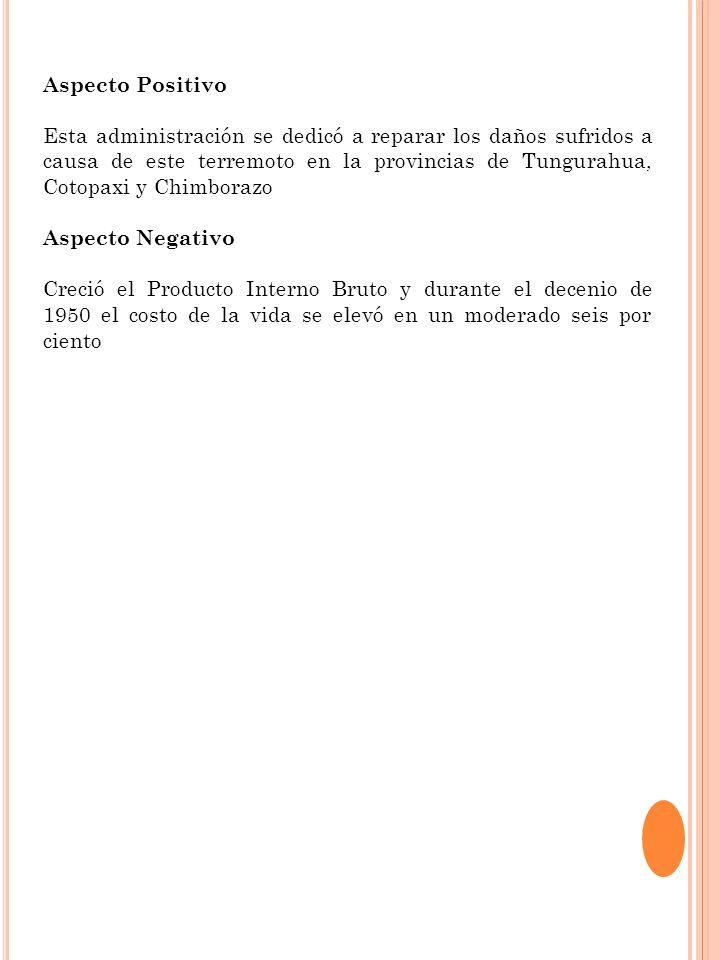 Aspecto Positivo Esta administración se dedicó a reparar los daños sufridos a causa de este terremoto en la provincias de Tungurahua, Cotopaxi y Chimb
