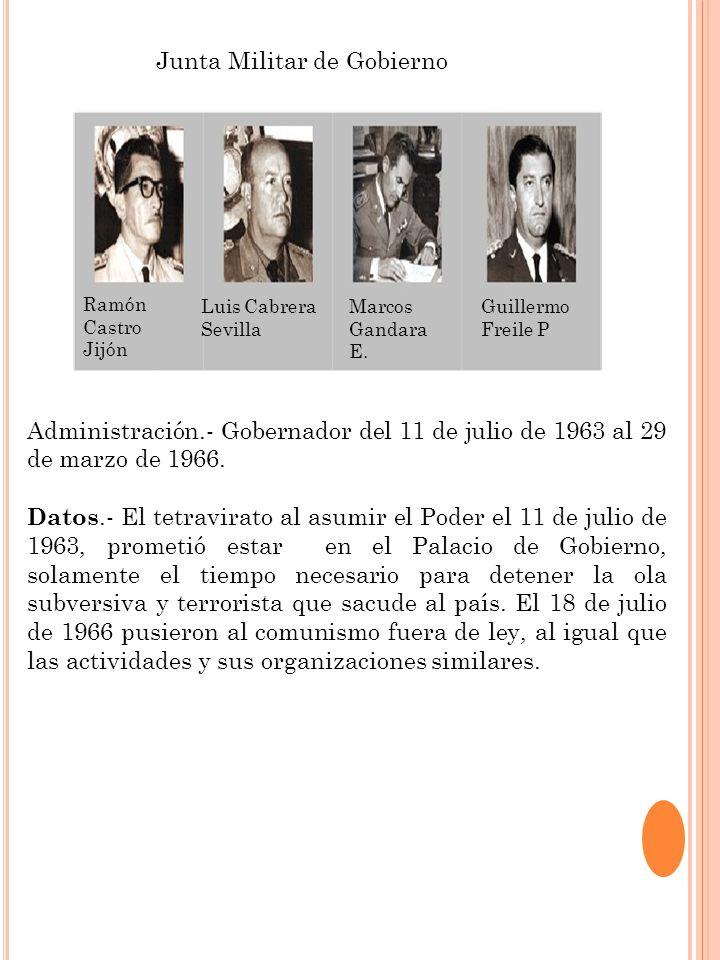 Junta Militar de Gobierno Ramón Castro Jijón Guillermo Freile P Marcos Gandara E. Luis Cabrera Sevilla Administración.- Gobernador del 11 de julio de