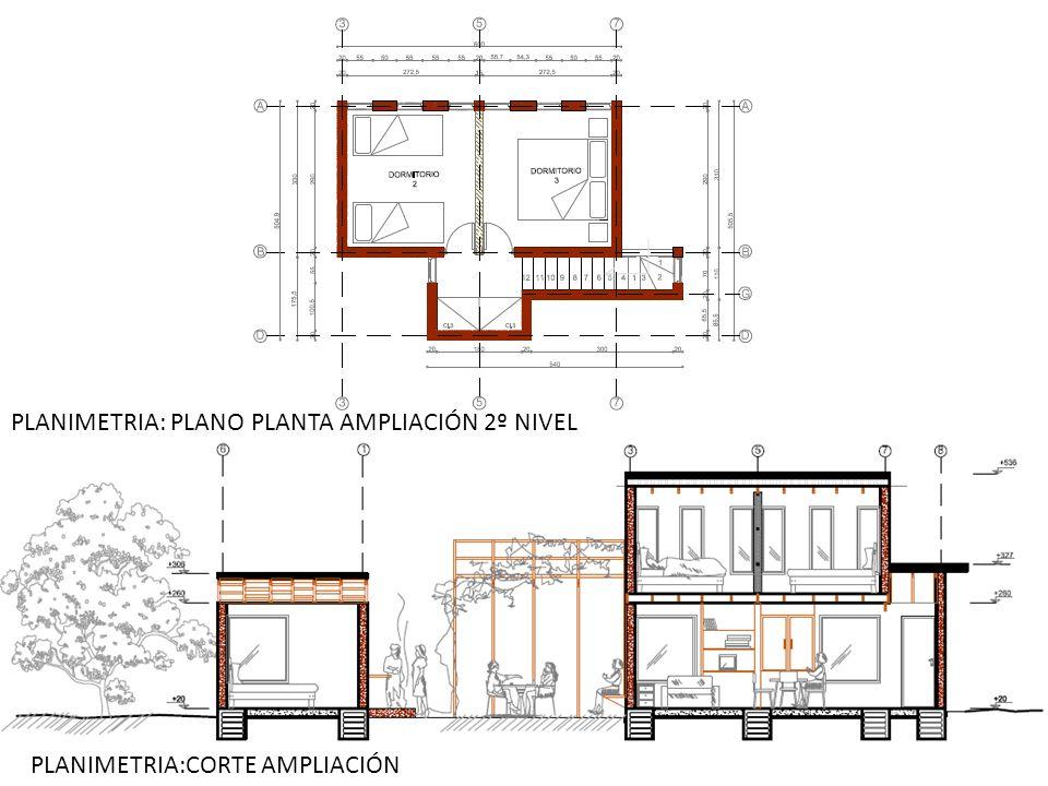 PLANIMETRIA: PLANO PLANTA AMPLIACIÓN 2º NIVEL PLANIMETRIA:CORTE AMPLIACIÓN