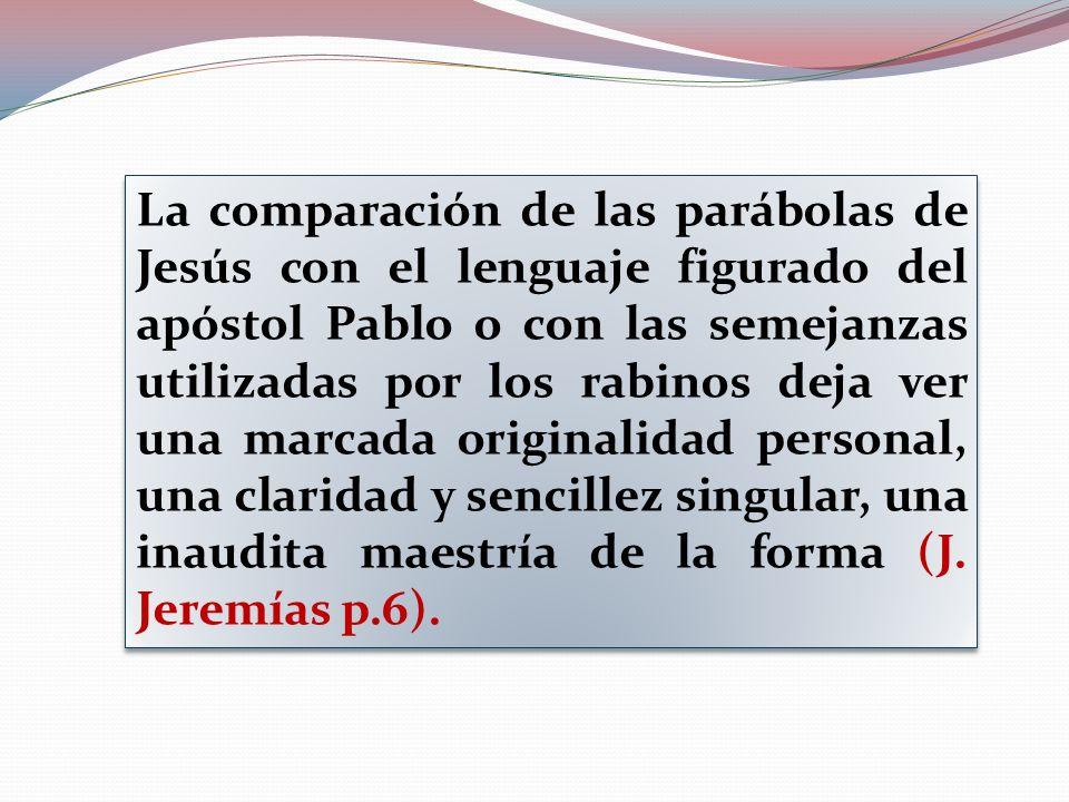 La comparación de las parábolas de Jesús con el lenguaje figurado del apóstol Pablo o con las semejanzas utilizadas por los rabinos deja ver una marca