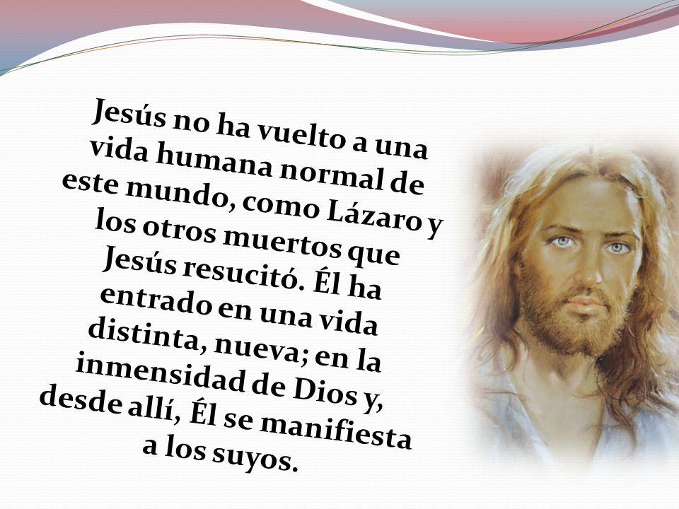 Jesús no ha vuelto a una vida humana normal de este mundo, como Lázaro y los otros muertos que Jesús resucitó. Él ha entrado en una vida distinta, nue