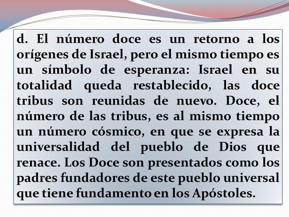 d. El número doce es un retorno a los orígenes de Israel, pero el mismo tiempo es un símbolo de esperanza: Israel en su totalidad queda restablecido,