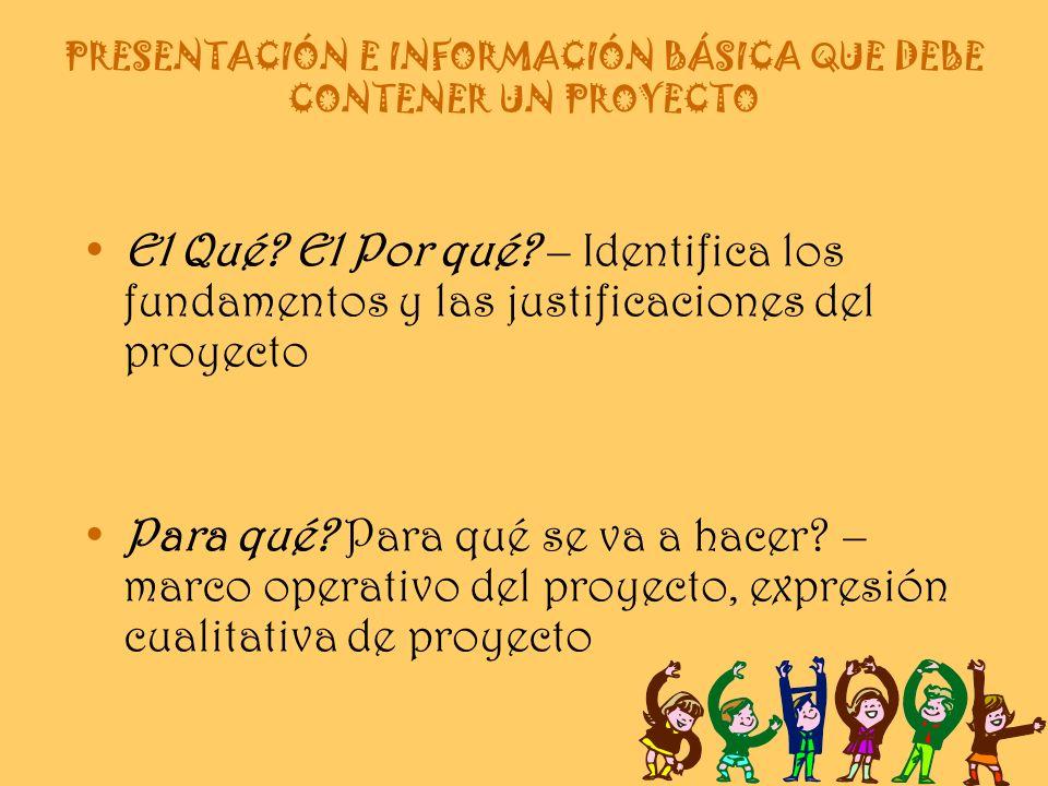 PRESENTACIÓN E INFORMACIÓN BÁSICA QUE DEBE CONTENER UN PROYECTO El Qué.