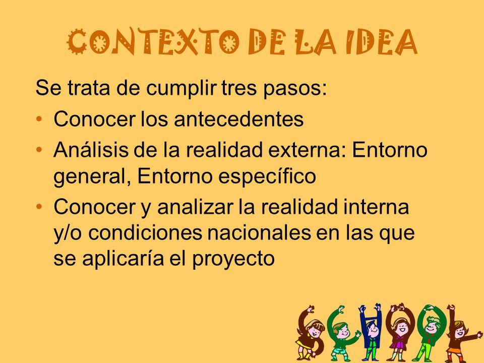 CONTEXTO DE LA IDEA Se trata de cumplir tres pasos: Conocer los antecedentes Análisis de la realidad externa: Entorno general, Entorno específico Conocer y analizar la realidad interna y/o condiciones nacionales en las que se aplicaría el proyecto