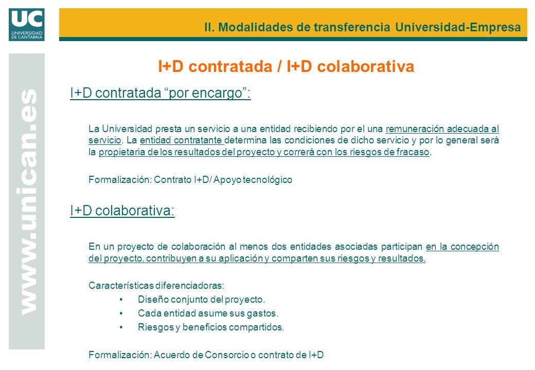 I+D contratada por encargo: La Universidad presta un servicio a una entidad recibiendo por el una remuneración adecuada al servicio. La entidad contra