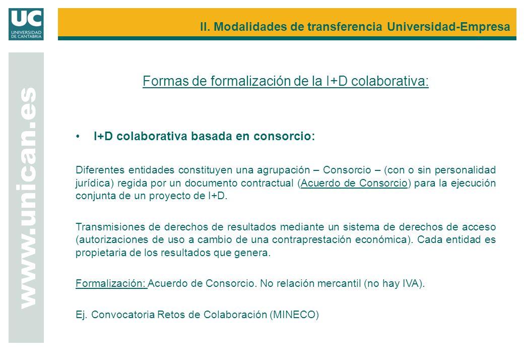 Formas de formalización de la I+D colaborativa: I+D colaborativa basada en consorcio: Diferentes entidades constituyen una agrupación – Consorcio – (c