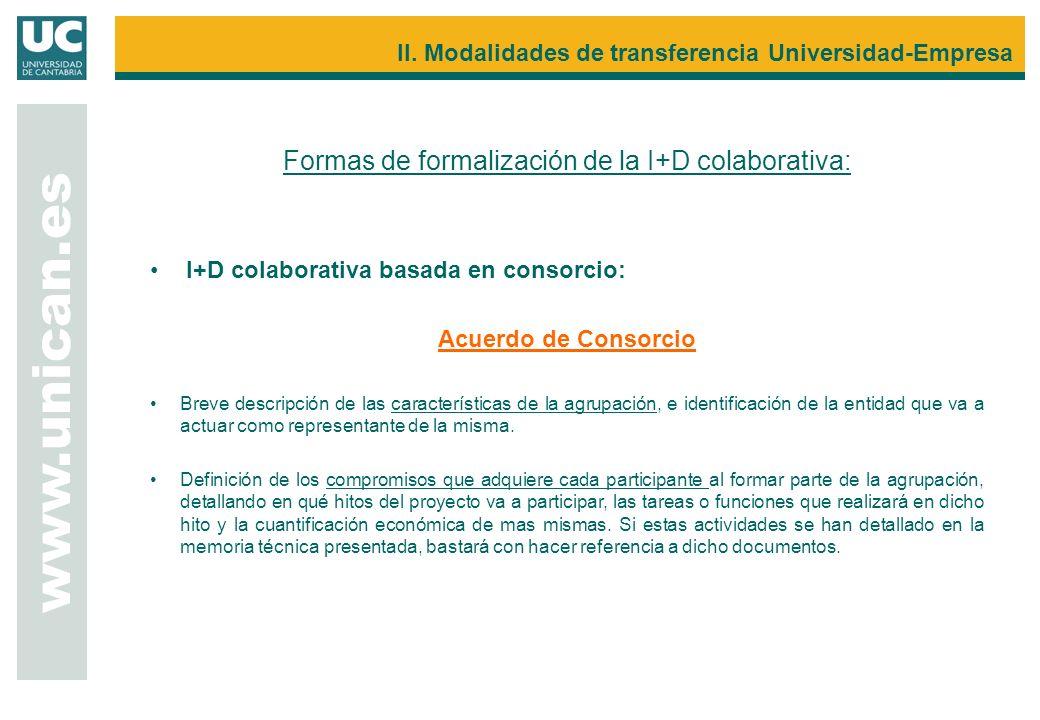 Formas de formalización de la I+D colaborativa: I+D colaborativa basada en consorcio: Acuerdo de Consorcio Breve descripción de las características de