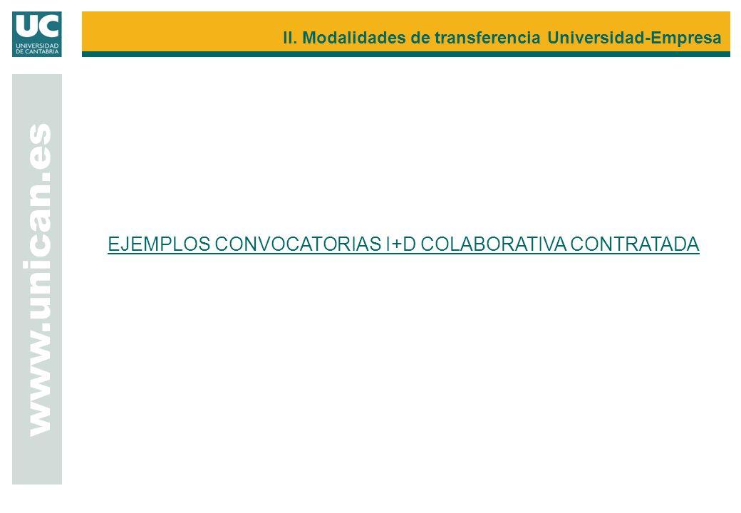 EJEMPLOS CONVOCATORIAS I+D COLABORATIVA CONTRATADA www.unican.es II. Modalidades de transferencia Universidad-Empresa