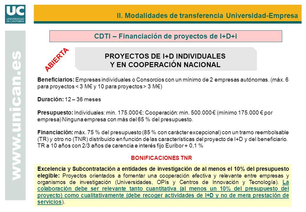 www.unican.es CDTI – Financiación de proyectos de I+D+i PROYECTOS DE I+D INDIVIDUALES Y EN COOPERACIÓN NACIONAL Beneficiarios: Empresas individuales o