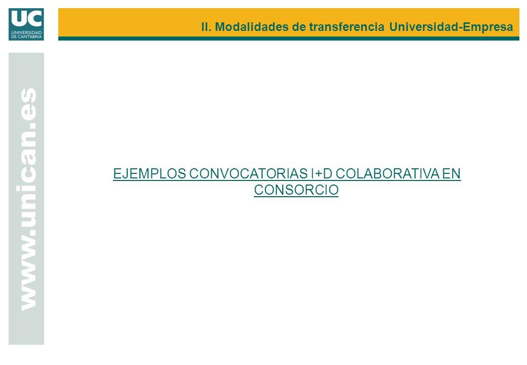 EJEMPLOS CONVOCATORIAS I+D COLABORATIVA EN CONSORCIO www.unican.es II. Modalidades de transferencia Universidad-Empresa