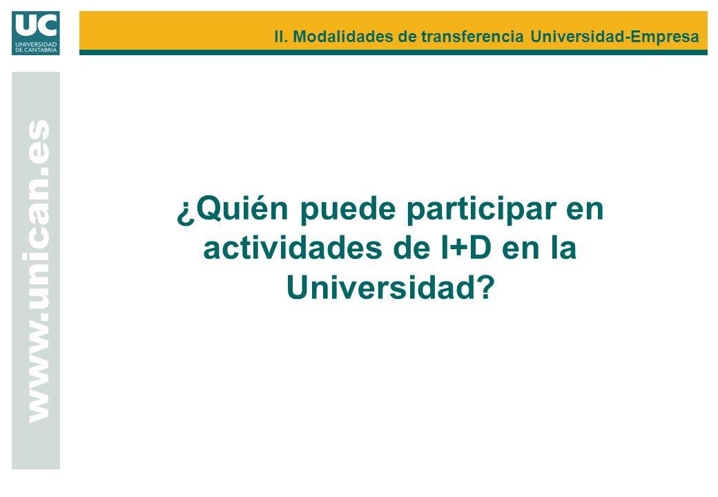 www.unican.es II. Modalidades de transferencia Universidad-Empresa ¿Quién puede participar en actividades de I+D en la Universidad?