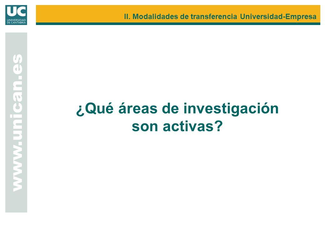www.unican.es II. Modalidades de transferencia Universidad-Empresa ¿Qué áreas de investigación son activas?
