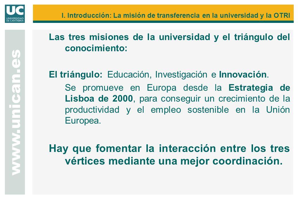 Las tres misiones de la universidad y el triángulo del conocimiento: El triángulo: Educación, Investigación e Innovación. Se promueve en Europa desde