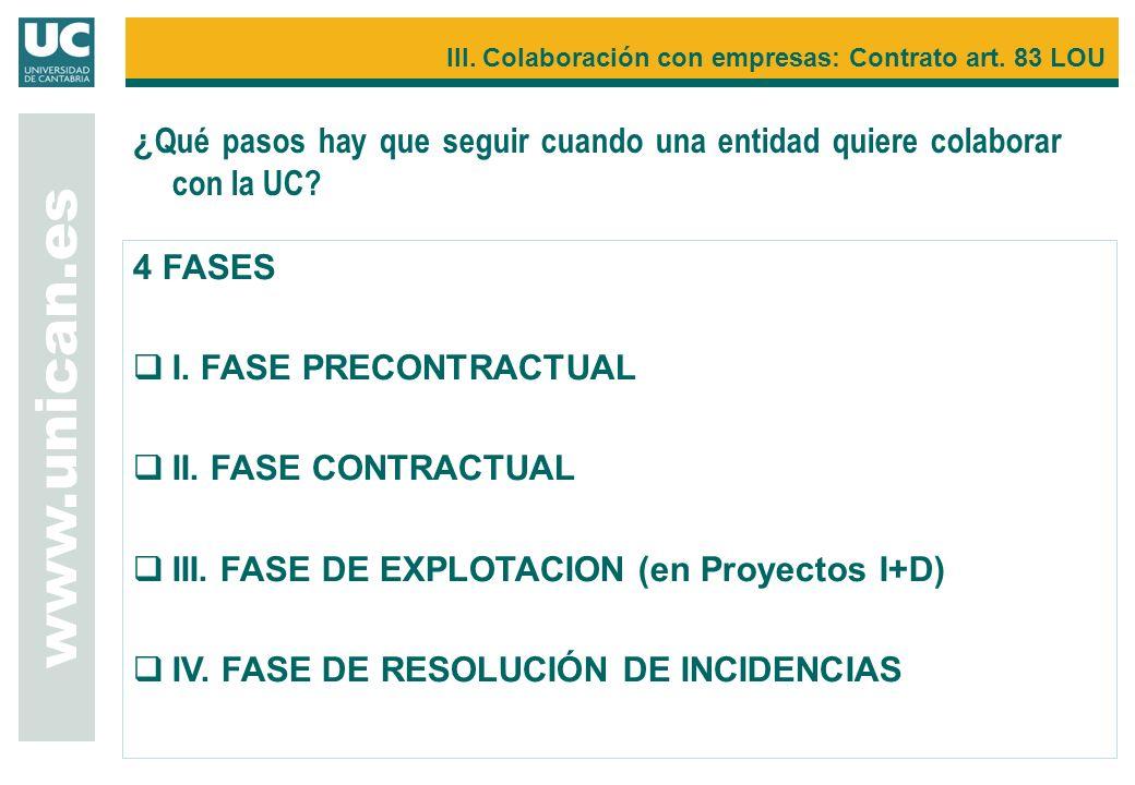 4 FASES I. FASE PRECONTRACTUAL II. FASE CONTRACTUAL III. FASE DE EXPLOTACION (en Proyectos I+D) IV. FASE DE RESOLUCIÓN DE INCIDENCIAS www.unican.es II