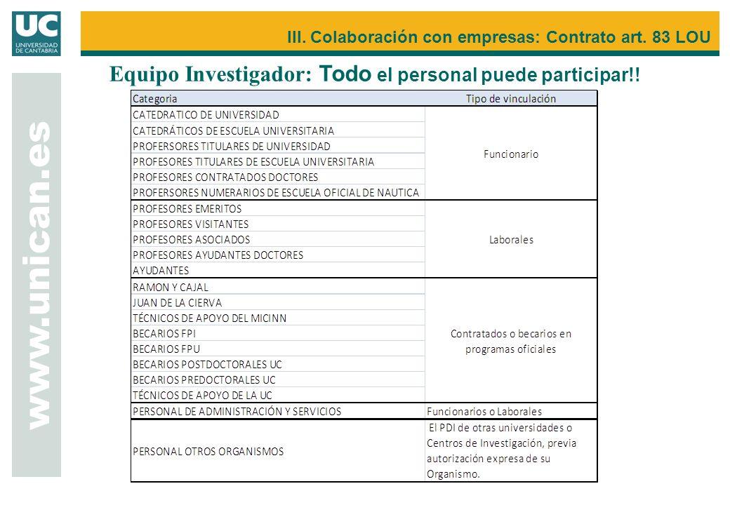 www.unican.es III. Colaboración con empresas: Contrato art. 83 LOU Equipo Investigador: Todo el personal puede participar!!