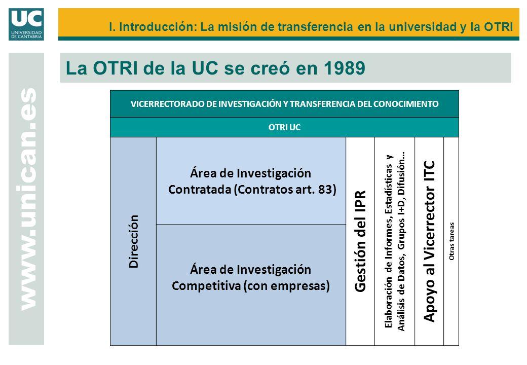 I. Introducción: La misión de transferencia en la universidad y la OTRI La OTRI de la UC se creó en 1989 www.unican.es VICERRECTORADO DE INVESTIGACIÓN