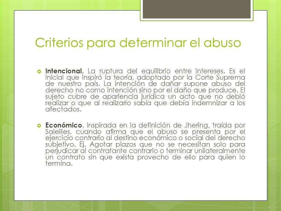 Criterios para determinar el abuso Intencional. La ruptura del equilibrio entre intereses. Es el inicial que inspiró la teoría, adoptado por la Corte