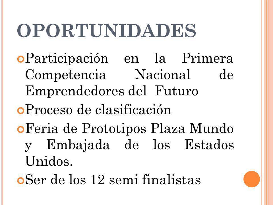 OPORTUNIDADES Participación en la Primera Competencia Nacional de Emprendedores del Futuro Proceso de clasificación Feria de Prototipos Plaza Mundo y Embajada de los Estados Unidos.