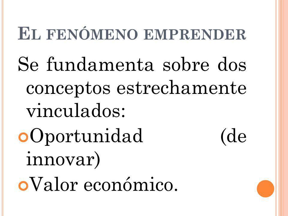 E L FENÓMENO EMPRENDER Se fundamenta sobre dos conceptos estrechamente vinculados: Oportunidad (de innovar) Valor económico.