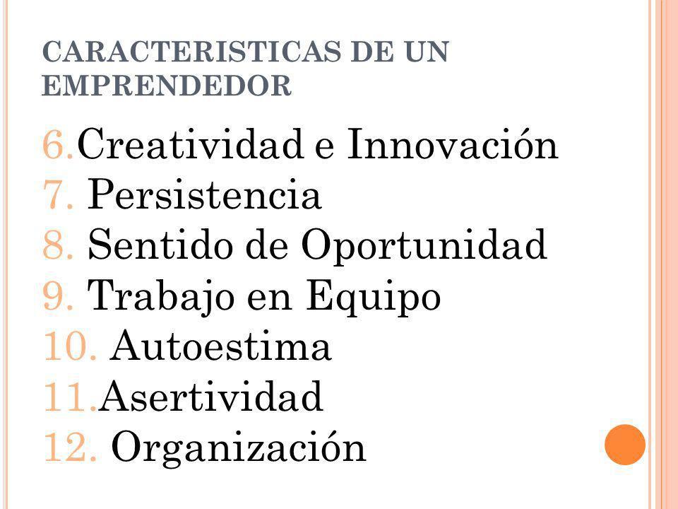 CARACTERISTICAS DE UN EMPRENDEDOR 6.Creatividad e Innovación 7. Persistencia 8. Sentido de Oportunidad 9. Trabajo en Equipo 10. Autoestima 11.Asertivi