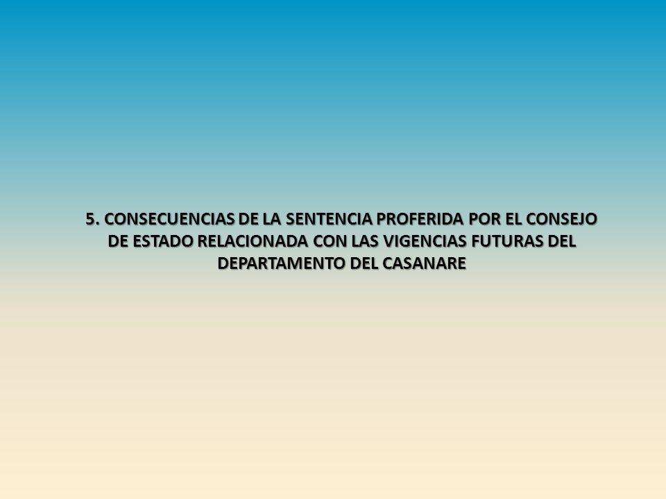 5. CONSECUENCIAS DE LA SENTENCIA PROFERIDA POR EL CONSEJO DE ESTADO RELACIONADA CON LAS VIGENCIAS FUTURAS DEL DEPARTAMENTO DEL CASANARE