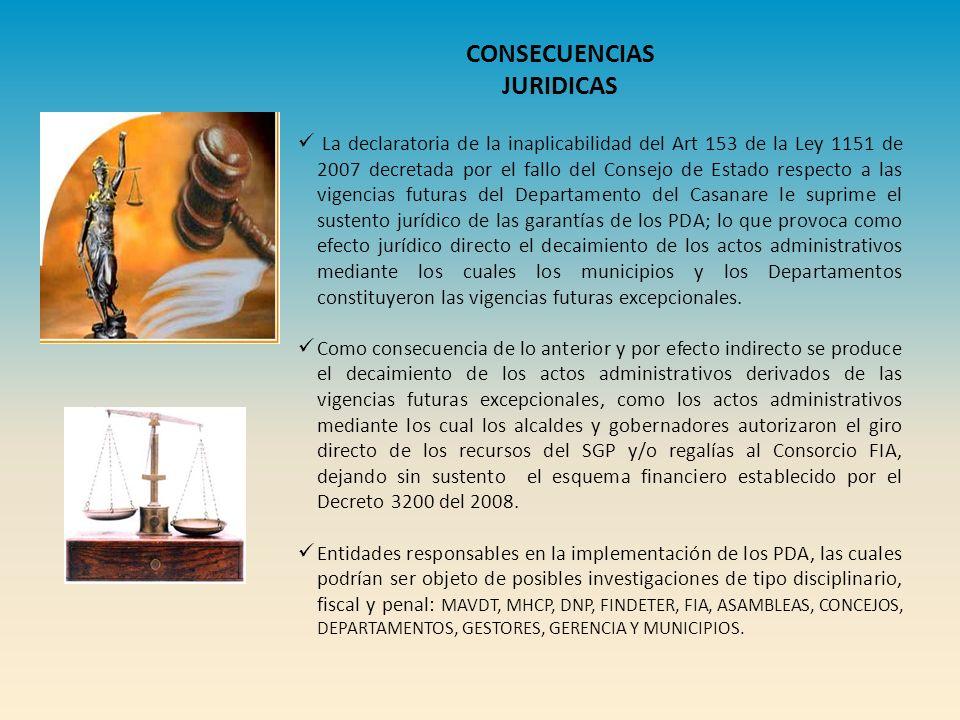 La declaratoria de la inaplicabilidad del Art 153 de la Ley 1151 de 2007 decretada por el fallo del Consejo de Estado respecto a las vigencias futuras del Departamento del Casanare le suprime el sustento jurídico de las garantías de los PDA; lo que provoca como efecto jurídico directo el decaimiento de los actos administrativos mediante los cuales los municipios y los Departamentos constituyeron las vigencias futuras excepcionales.