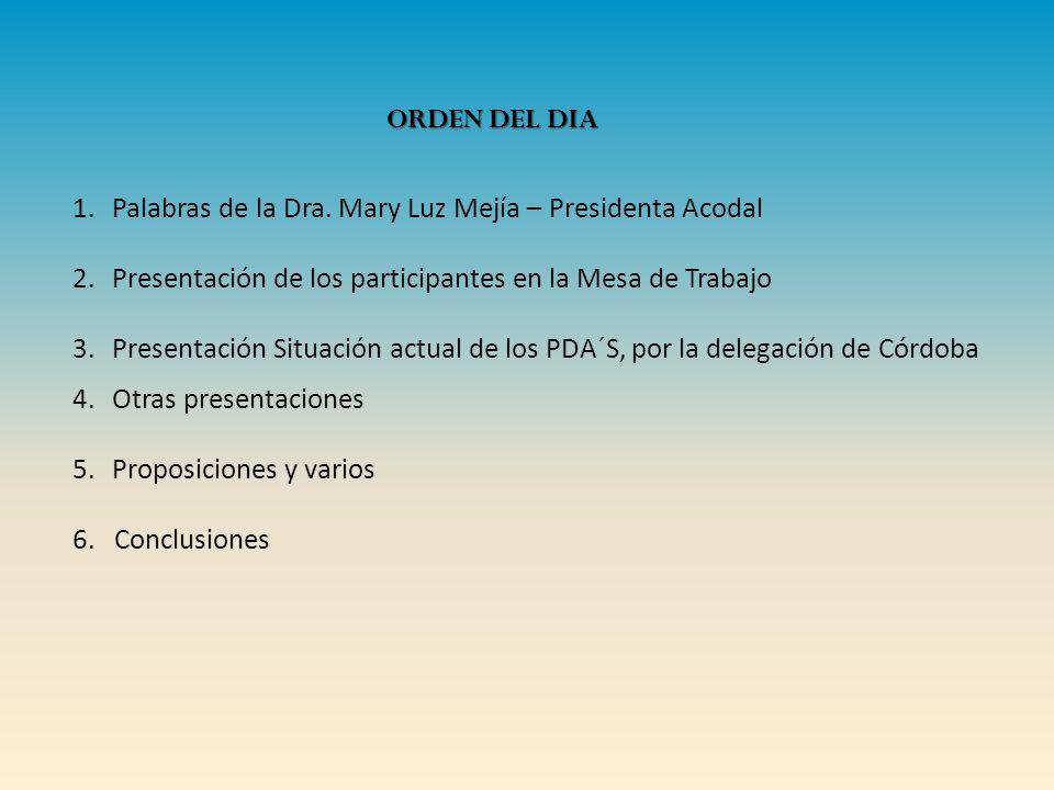 1.Palabras de la Dra. Mary Luz Mejía – Presidenta Acodal 2.Presentación de los participantes en la Mesa de Trabajo 3.Presentación Situación actual de