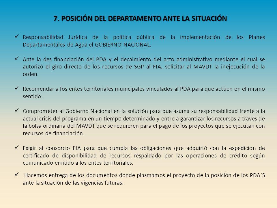 7. POSICIÓN DEL DEPARTAMENTO ANTE LA SITUACIÓN Responsabilidad Jurídica de la política pública de la implementación de los Planes Departamentales de A