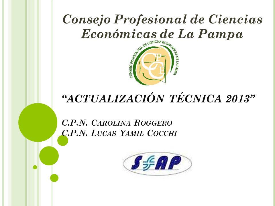 ACTUALIZACIÓN TÉCNICA 2013 C.P.N. C AROLINA R OGGERO C.P.N. L UCAS Y AMIL C OCCHI Consejo Profesional de Ciencias Económicas de La Pampa