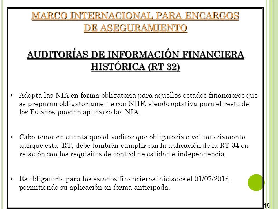 15 MARCO INTERNACIONAL PARA ENCARGOS DE ASEGURAMIENTO AUDITORÍAS DE INFORMACIÓN FINANCIERA HISTÓRICA (RT 32) Adopta las NIA en forma obligatoria para