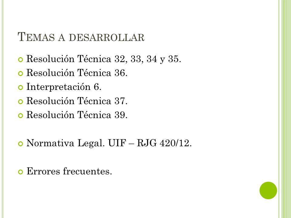 T EMAS A DESARROLLAR Resolución Técnica 32, 33, 34 y 35. Resolución Técnica 36. Interpretación 6. Resolución Técnica 37. Resolución Técnica 39. Normat