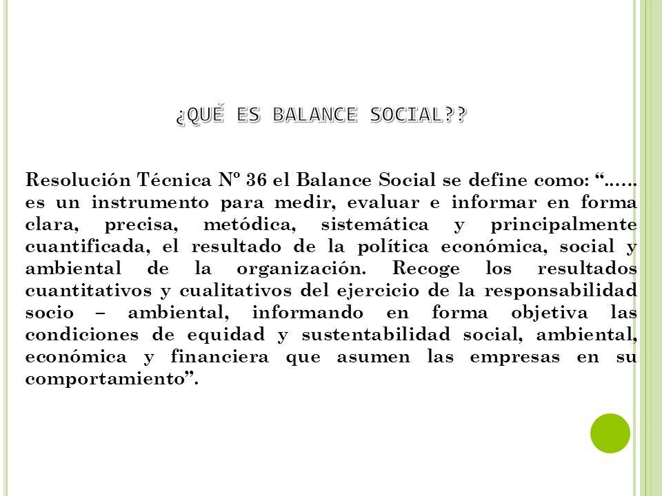 Resolución Técnica Nº 36 el Balance Social se define como:..…. es un instrumento para medir, evaluar e informar en forma clara, precisa, metódica, sis