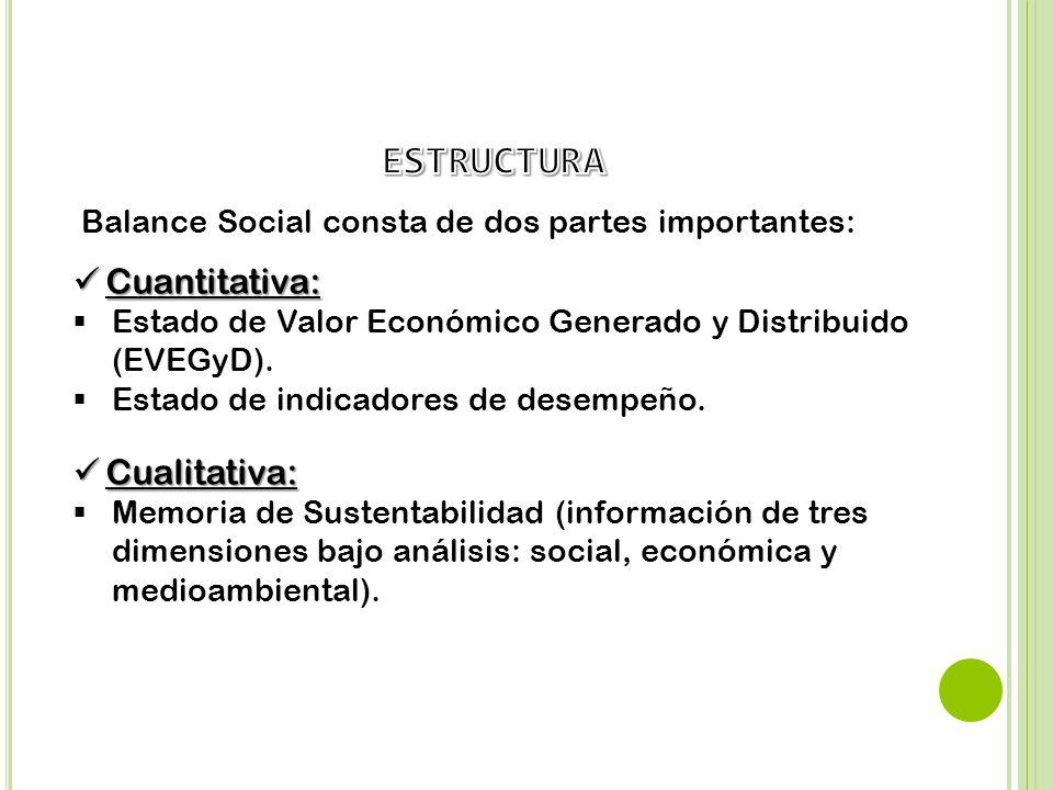 Cualitativa: Cualitativa: Memoria de Sustentabilidad (información de tres dimensiones bajo análisis: social, económica y medioambiental). Balance Soci