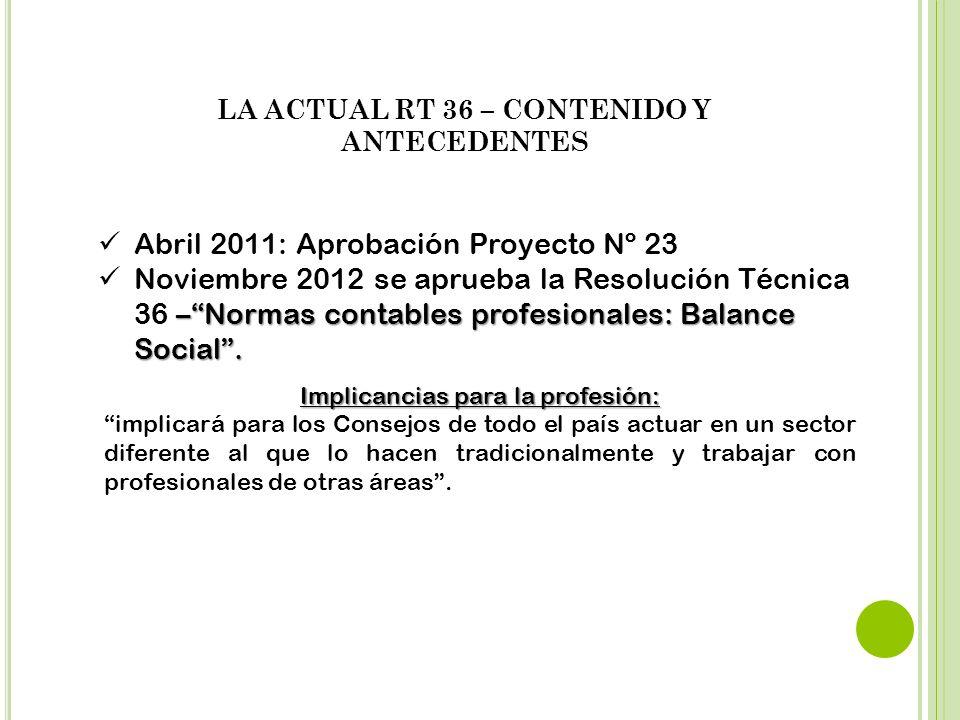 Abril 2011: Aprobación Proyecto Nº 23 –Normas contables profesionales: Balance Social. Noviembre 2012 se aprueba la Resolución Técnica 36 –Normas cont