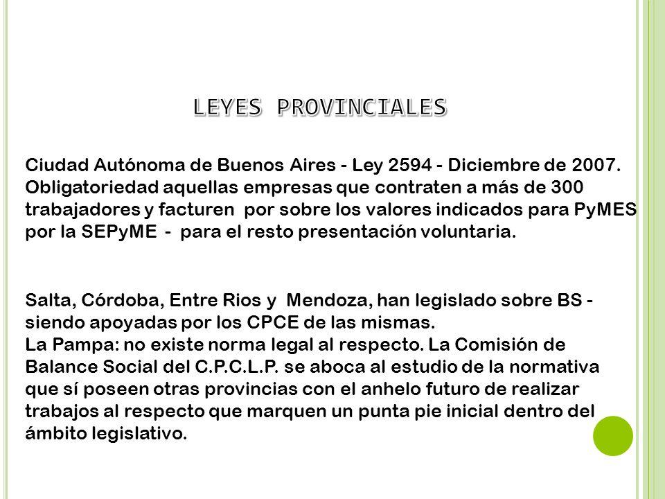 Ciudad Autónoma de Buenos Aires - Ley 2594 - Diciembre de 2007. Obligatoriedad aquellas empresas que contraten a más de 300 trabajadores y facturen po