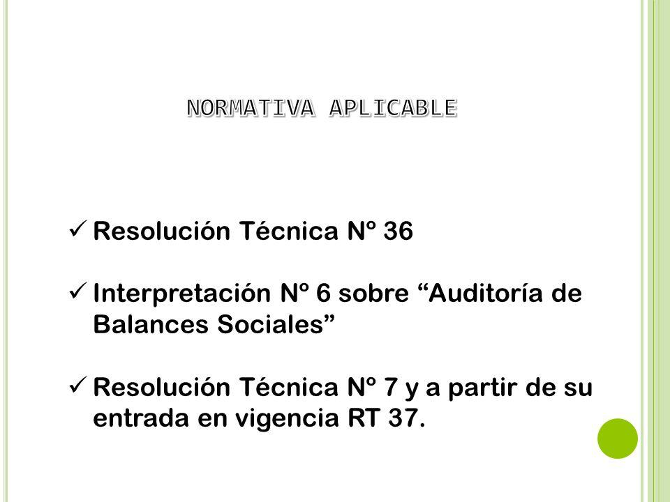 Resolución Técnica Nº 36 Interpretación Nº 6 sobre Auditoría de Balances Sociales Resolución Técnica Nº 7 y a partir de su entrada en vigencia RT 37.