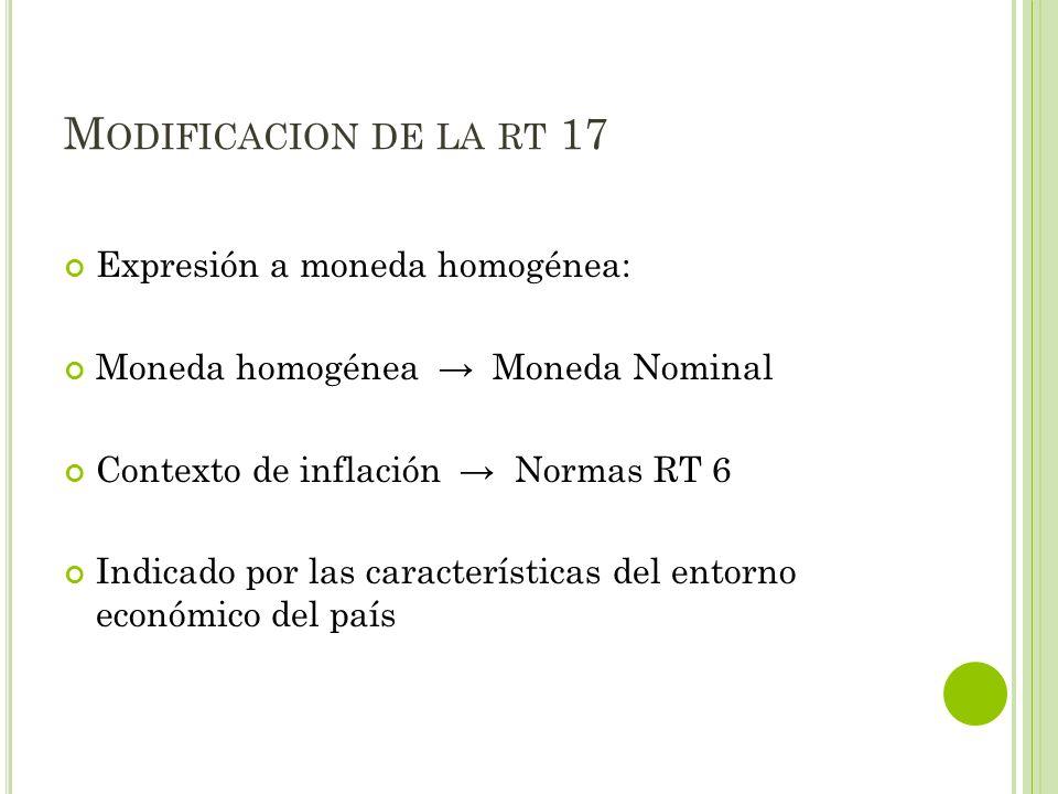 M ODIFICACION DE LA RT 17 Expresión a moneda homogénea: Moneda homogénea Moneda Nominal Contexto de inflación Normas RT 6 Indicado por las característ