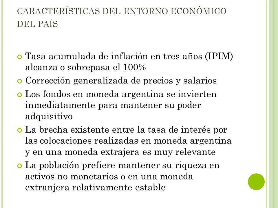 CARACTERÍSTICAS DEL ENTORNO ECONÓMICO DEL PAÍS Tasa acumulada de inflación en tres años (IPIM) alcanza o sobrepasa el 100% Corrección generalizada de