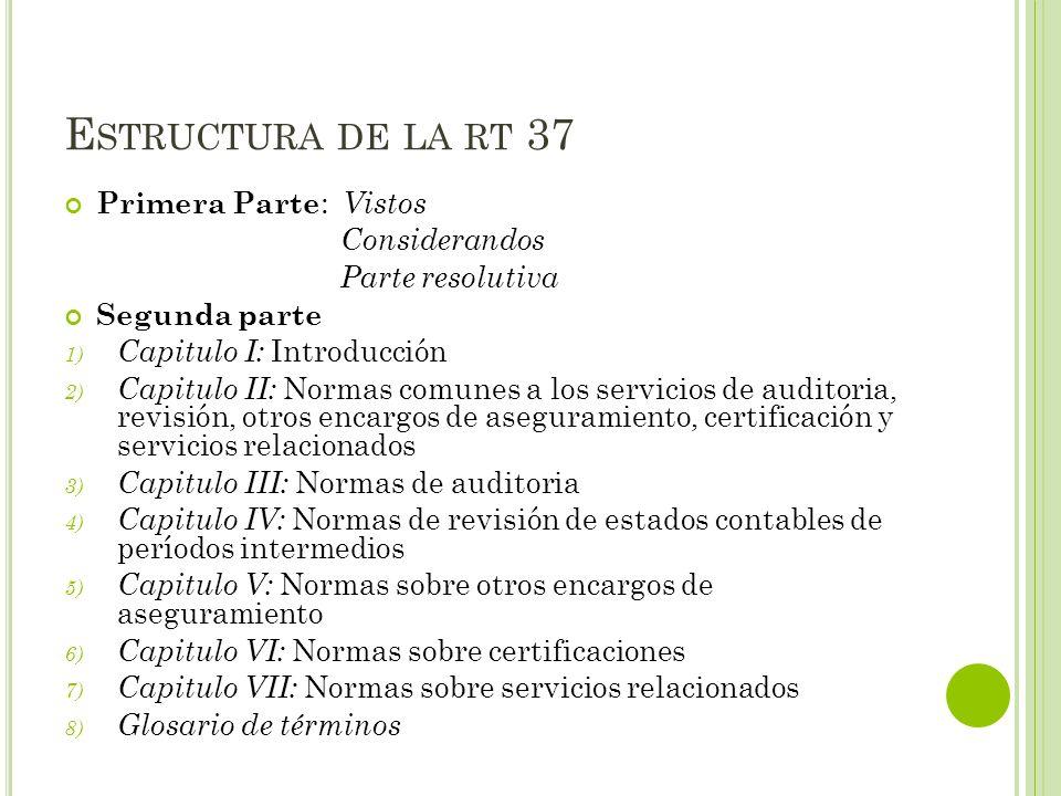 E STRUCTURA DE LA RT 37 Primera Parte : Vistos Considerandos Parte resolutiva Segunda parte 1) Capitulo I: Introducción 2) Capitulo II: Normas comunes