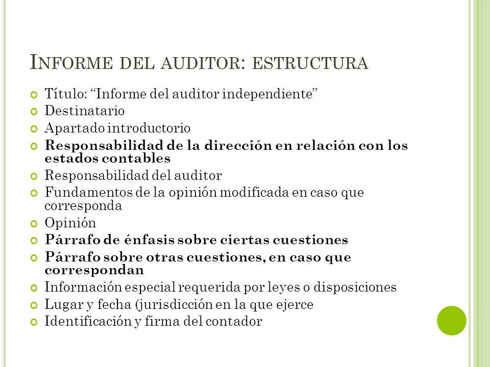 I NFORME DEL AUDITOR : ESTRUCTURA Título: Informe del auditor independiente Destinatario Apartado introductorio Responsabilidad de la dirección en rel