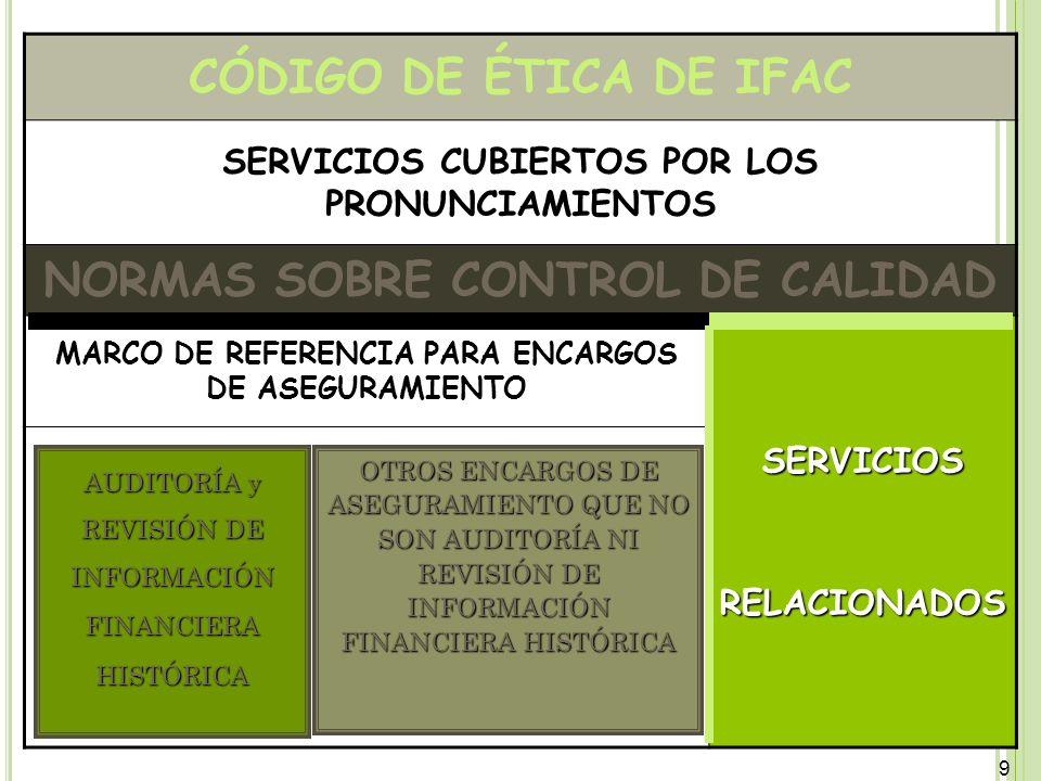 9 9 CÓDIGO DE ÉTICA DE IFAC SERVICIOS CUBIERTOS POR LOS PRONUNCIAMIENTOS NORMAS SOBRE CONTROL DE CALIDAD MARCO DE REFERENCIA PARA ENCARGOS DE ASEGURAM