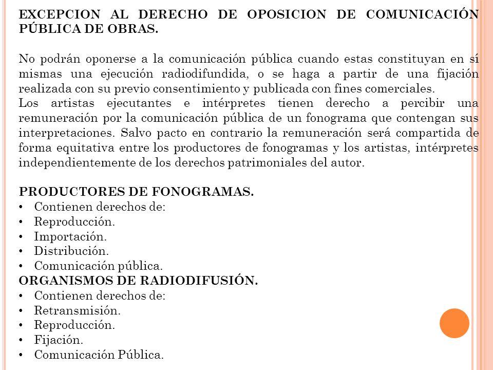 EXCEPCION AL DERECHO DE OPOSICION DE COMUNICACIÓN PÚBLICA DE OBRAS. No podrán oponerse a la comunicación pública cuando estas constituyan en sí mismas