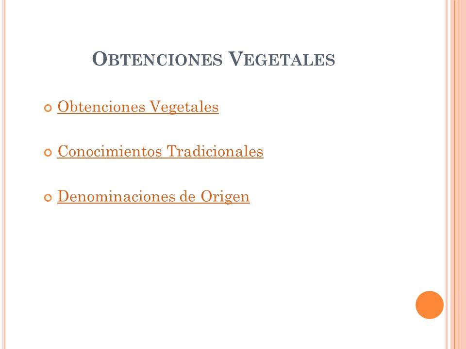 O BTENCIONES V EGETALES Obtenciones Vegetales Conocimientos Tradicionales Denominaciones de Origen