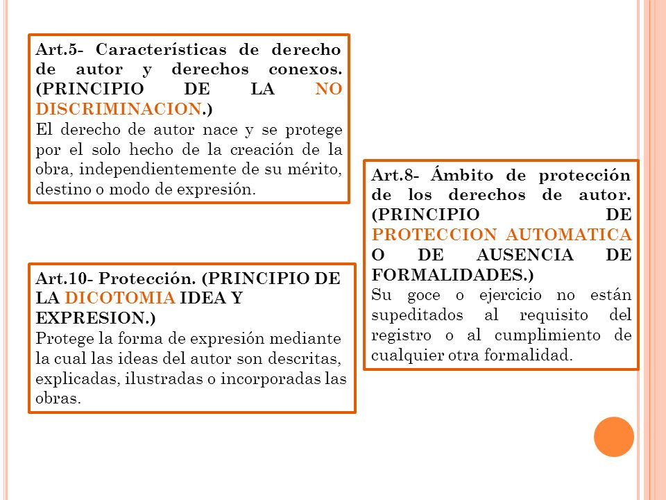 Art.5- Características de derecho de autor y derechos conexos. (PRINCIPIO DE LA NO DISCRIMINACION.) El derecho de autor nace y se protege por el solo