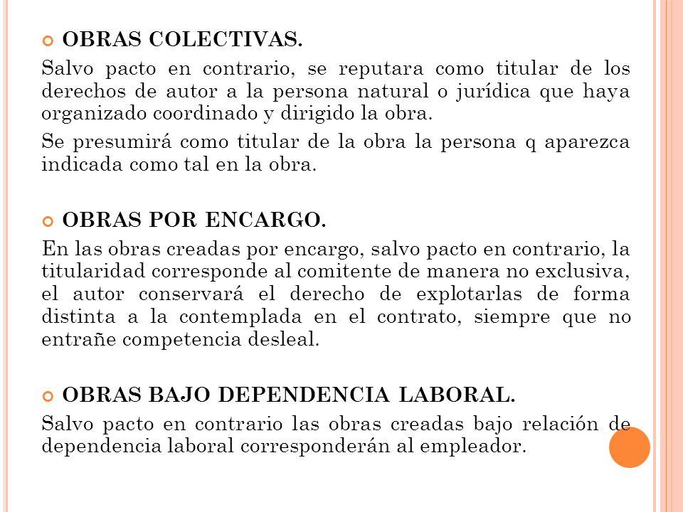 OBRAS COLECTIVAS. Salvo pacto en contrario, se reputara como titular de los derechos de autor a la persona natural o jurídica que haya organizado coor