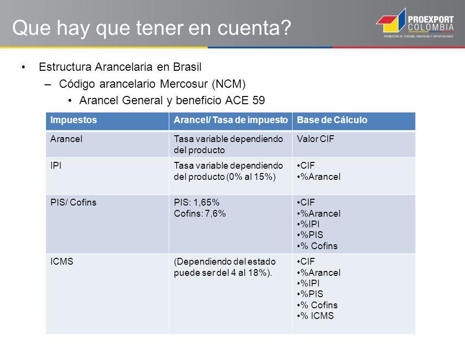Estructura Arancelaria en Brasil –Código arancelario Mercosur (NCM) Arancel General y beneficio ACE 59 Que hay que tener en cuenta.