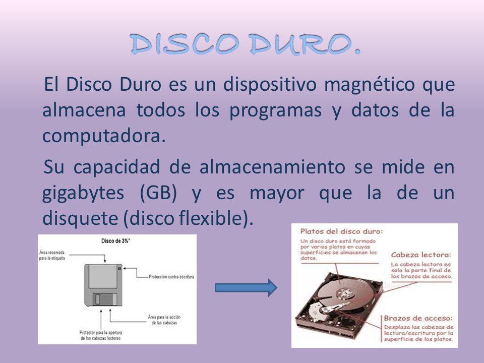 El Disco Duro es un dispositivo magnético que almacena todos los programas y datos de la computadora.