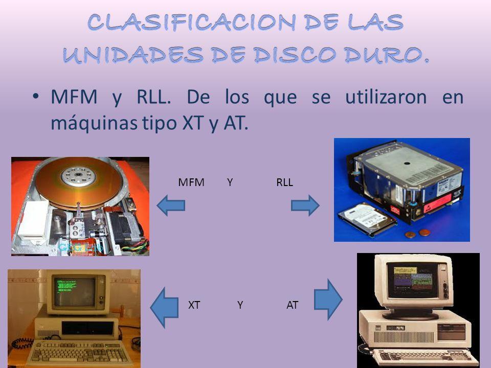 MFM y RLL. De los que se utilizaron en máquinas tipo XT y AT. MFM Y RLL XT Y AT